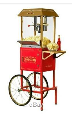 10 oz. Kettle Popcorn Machine and Cart with Built-In Stirring System, Red/Orange