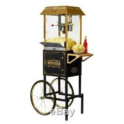 10 oz. Kettle Popcorn Popper Machine and Cart with Built-In Stirring System, Black