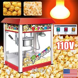 110V Commercial Popcorn Maker Machine Automatic Fast Heating Non-stick Kettle US