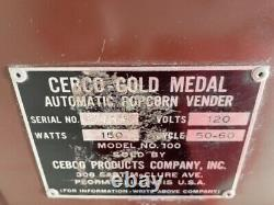 1950's Popcorn vending/ warming machine Manufactured by Gold Medal with Key & Plug