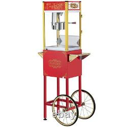 2 Colors Commercial Popcorn Machine Maker Popper with Cart and 8-Ounce Kettle US
