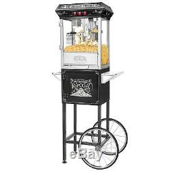 5810 Great Northern Black Good Time 8oz Full Popcorn Popper Machine with Cart 8