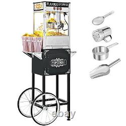 60 in. Vintage Collection 8 oz. Black Popcorn Machine with Cart