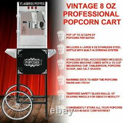 850W Vintage Style Popcorn Machine Maker Popper with Cart and 8-Ounce Kettle US
