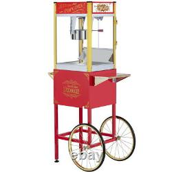 8oz. Vintage Style Popcorn Machine Cart with Kettle Scoop Salt Shaker Containers