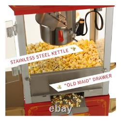 Carnival Style 8 oz. Red and Gold Popcorn Machine with Cart