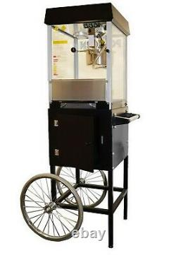 Commercial Popcorn Popper Machine with Cart Black & Silver Gold Medal 4 oz