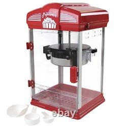 Electric Hot Oil Theater Style Popcorn Popper Machine with Nonstick Kettle, Red