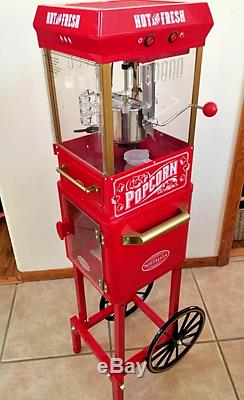 Electric Popcorn Cart Machine Popper Maker Stand Vintage Style Home Kitchen Red