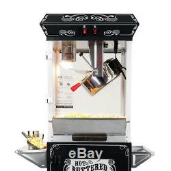 FunTime Sideshow Popper 4-Ounce Hot Oil Popcorn Machine with Cart Black/Silver