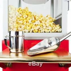 FunTime Sideshow Popper 8-Ounce Hot Oil Popcorn Machine with Cart, Red/Gold