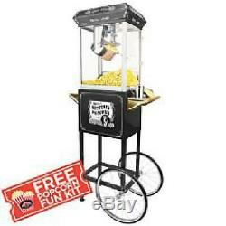 Funtime 4Oz Full Size Hot Oil Popcorn Maker Machine WithCart(BlackSilver) With Fr