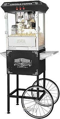 Great Northern Black Antique Style Lincoln Popcorn Popper Machine withCart 8 Oz