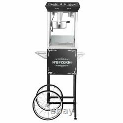 Great Northern Popcorn Black 8 oz. Ounce Vintage Style Popcorn Machine and Cart