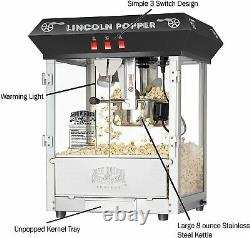 Great Northern Popcorn Black Bar Style Lincoln 8 Ounce Antique Popcorn Machine