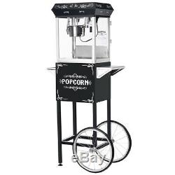 Great Northern Popcorn Black Foundation Popcorn Popper Machine Cart, 4 Ounce