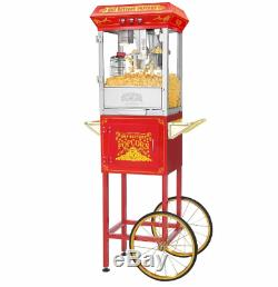 Great Northern Popcorn Machine 8OZ Red With Cart Retro Electric Vintage Popper
