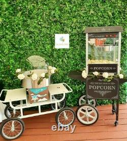 Hire Only Vintage White Candy Floss Machine & Popcorn Cart Birthdays Weddings