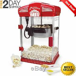 Hot Oil Theater Style Popcorn Popper Machine Offers Nonstick Kettle Fast Durable