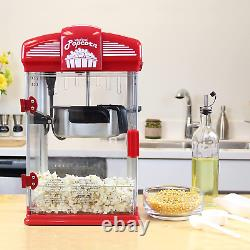 Hot Oil Theater Style Popcorn Popper Machine withNonstick Kettle + Measuring Tool