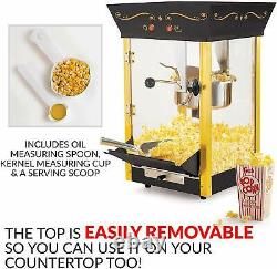 Large Popcorn Machine Vintage Black Cart 53-Inch Safety Glass 32 Cups per Batch