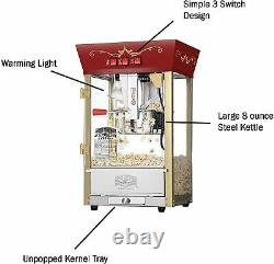 New Popcorn Machine Maker Cart Red Movie Theater Style Hot 8 oz Ounce Vintage