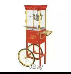 Nostalgia Electrics Red Metal Housing 0.5-Cup Oil Popcorn Maker Machine Cart
