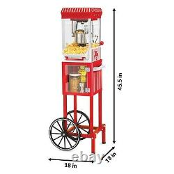 Nostalgia Old Fashioned Kettle Popcorn Maker Cart Red Popper Air Hot Machine NEW