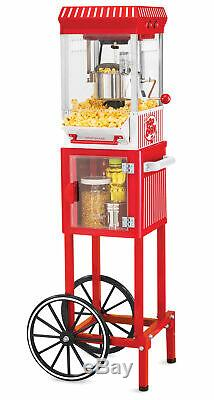 POPCORN CART MACHINE Popper Maker Vintage Popper Red Stand Movie Room 45 Tall