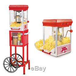 POPCORN CART MACHINE Popper Maker Vintage Popper Red Stand Movie Room 48 Tall