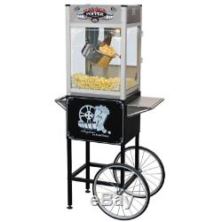 Palace 16 oz. Hot Oil Stainless Steel Popcorn Popper Machine with Cart