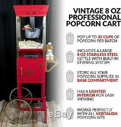 Popcorn Cart Machine Concession Vintage Red 8 oz 53 in. Tall Storage Compartment