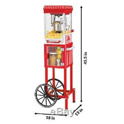 Popcorn Machine Cart Popper Maker Vintage Red Stand Kettle Movie Room 45 Tall
