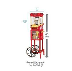 Popcorn Machine with Cart Trolley Large Popper Maker Red Retro Stand Red New