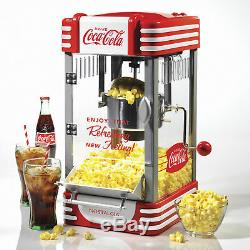 Popcorn Popper Machine Red 2.5 oz Kettle Table-Top Up To 10-Cups Stainless Steel