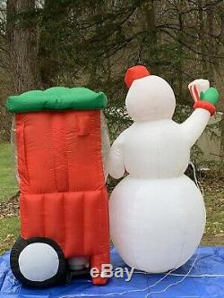 Rare Gemmy Christmas Airblown Inflatable Animated Snowman With Popcorn Machine