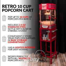Red Popcorn Machine with Cart Stainless Steel Popper Kettle Pops up to 10-cups