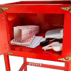 Red Popcorn Popper Machine With Cart 8 oz Tabletop Model Kernel And Oil Scoop