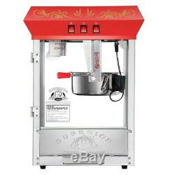 Superior Popcorn 8 Ounce Red Carnival Popcorn Popper Machine with Cart, 8 oz