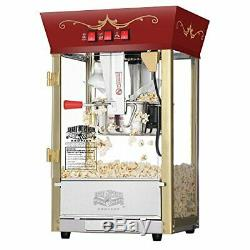 Tempered Glass 640W Red Matinee Movie Theater Style Antique 8oz Popcorn Machine