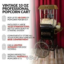 Vintage 10 Ounce (10 oz) Professional Popcorn Machine with Cart