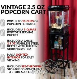 Vintage Commercial Style Professional Popcorn Machine Popper with Wheels & Cart