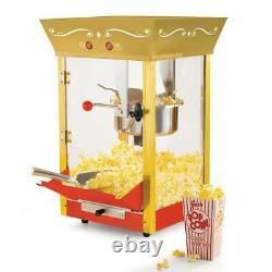 Vintage Popcorn Machine with Cart Stainless Steel Kettle Built-in Stirring System