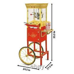 Vintage Popcorn Maker Machine Kettle Retro Portable 32-Cup Commercial Style Red