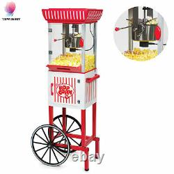 Vintage Red Popcorn Maker Cart Machine Movie House Mobile Hot Air Popper Stand