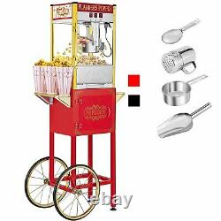 Vintage Single Door Popcorn Machine Maker Popper with Cart and 8-Ounce Kettle US