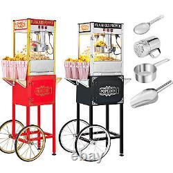 Vintage Style Popcorn Machine Maker Capacity Theater Popper with Cart 8-OzKettle