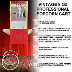 Vintage Style Retro Popcorn Maker Single Door Full Machine with Cart Red