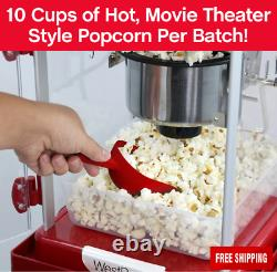 West Bend Compact Popcorn Machine & Cart, Onboard Storage, Serving Tray, Red